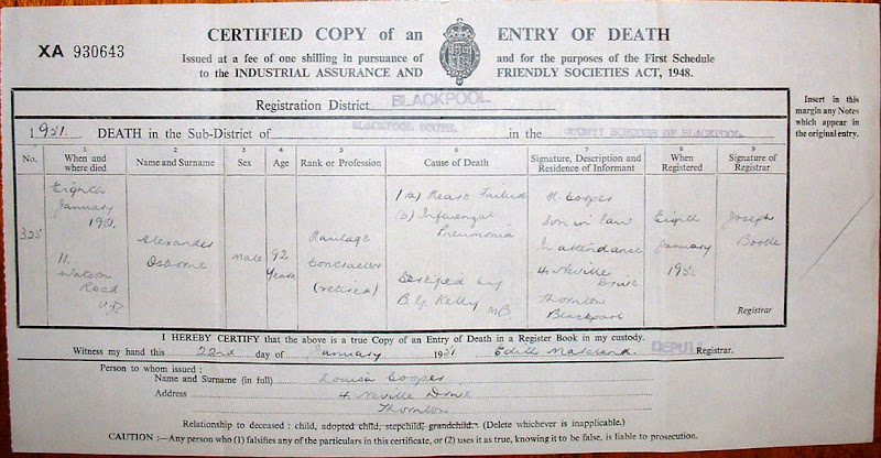 John Edward Coopers Notes Death Certificate Alexander Osborne