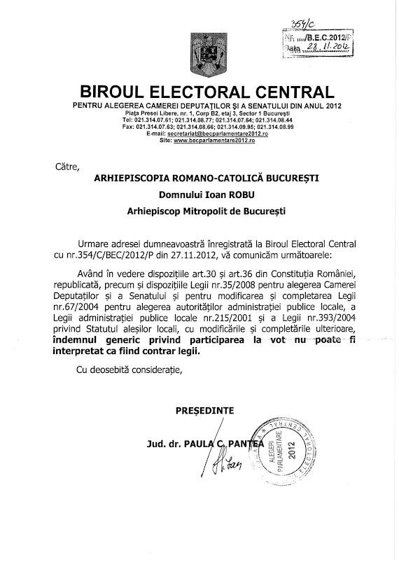 Adresa Biroului Electoral Central privind indemnul la vot - indemnul generic privind participarea la vot nu poate fi interpretat ca fiind contrar legii