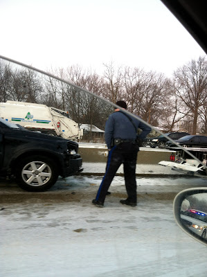 police,highway,snow,car,accident,tow,truck