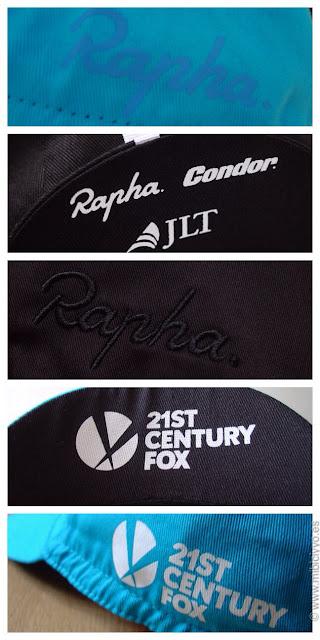 Rapha caps,Detalles de las viseras y detalles de las gorras