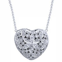 14K White Gold Diamond Heart Locket Necklace