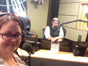 Felicity Moore in the ABC studio with Tim Cox