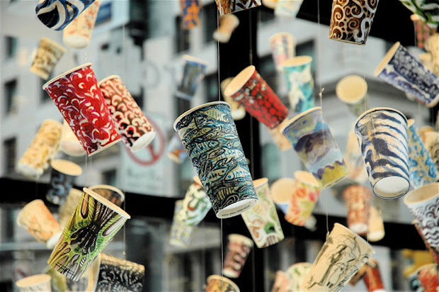 An Installation of Drawings on Upcycled Paper Cups