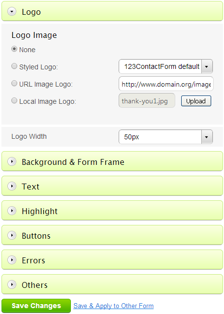 Form Theme Settings