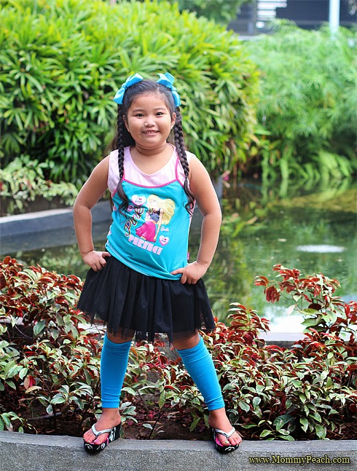 Ykaie Wearing Barbie Top and Leg Warmers | www.mommypeach.com