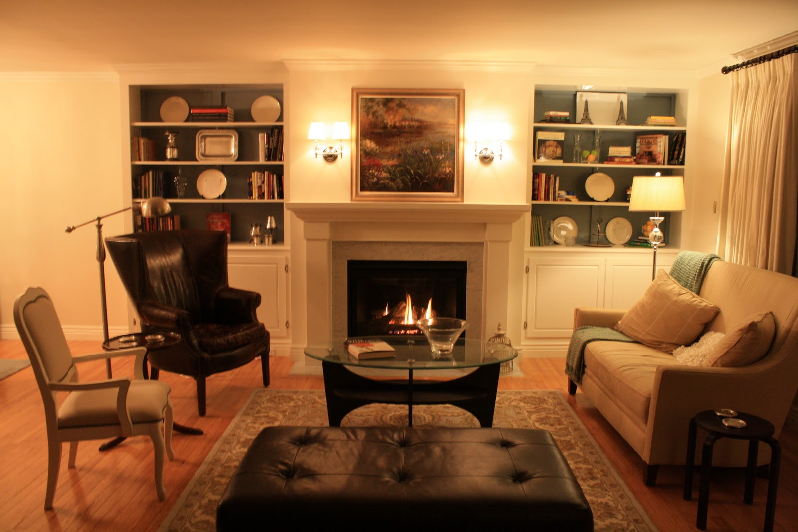 Amazing photo of Living Room Remodel Adding a Fireplace and Built in Bookshelves  with #C97B02 color and 1600x1067 pixels