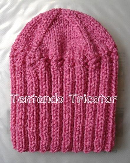aebd57a4e7b71 Tentando Tricotar  Gorro fácil e rápido em tricot