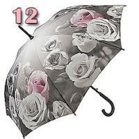 guarda-chuva rosas preto e branco