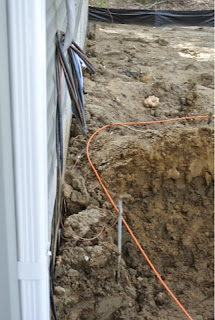 Picture of trench with buried electric and cable lines..
