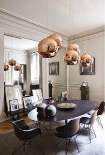 lámpara esfera de cobre