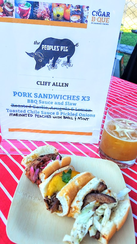 The People's Pig at CigarBQue Portland 2016 brought up Pork Sandwiches 3 ways- with BBQ sauce and slaw, with Toasted Chili Sauce and pickled onions, and Marinated Peaches with basil and mint.