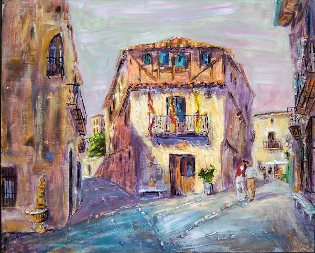 Pedraza,pintura mixta de Pascual Aranda