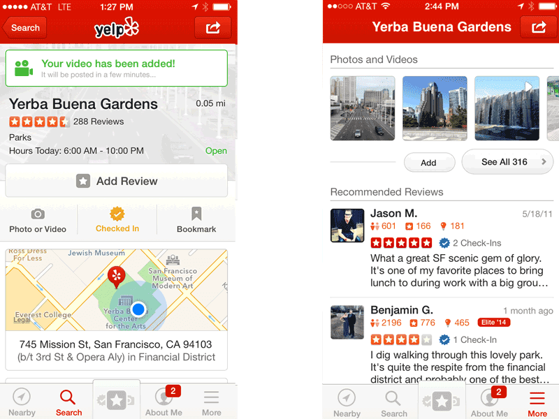 Yelp video reviews in mobiele app