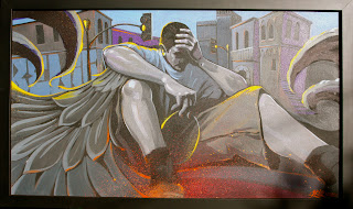 "Lost Angel Acrylic and spray paint on canvas 44"" x 26"" 2011 $3,000"