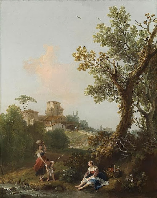 Francesco Zuccarelli - Wooded river landscape with a boy fishing and two peasant women