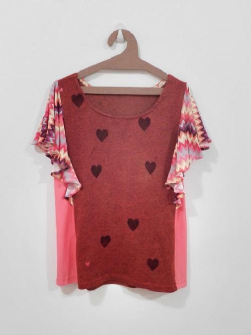 As Blogueiras Customizam - Lusco Fusco - camiseta com estampa de coração