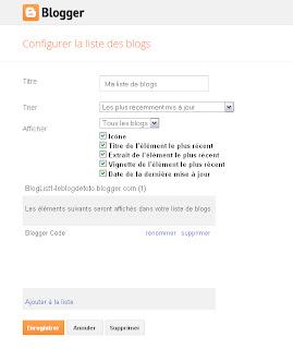 Panneau de configuration du gadget Liste des blogs