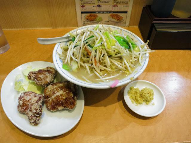 タンメンと唐揚げのセット「タンカラ」@ショウガ別皿