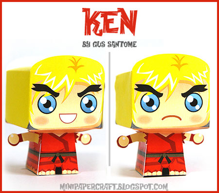 Street Fighter Mini Ken Paper Toy