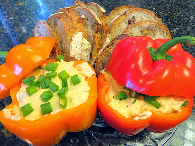 Smoked Beer Cheese Recipe: Roasted Garlic, Parmesan, Tillamook Smoked White Pepper Cheddar in bell pepper jack o lanterns