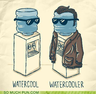 cartoon of a water cooler wearing a leather jacket