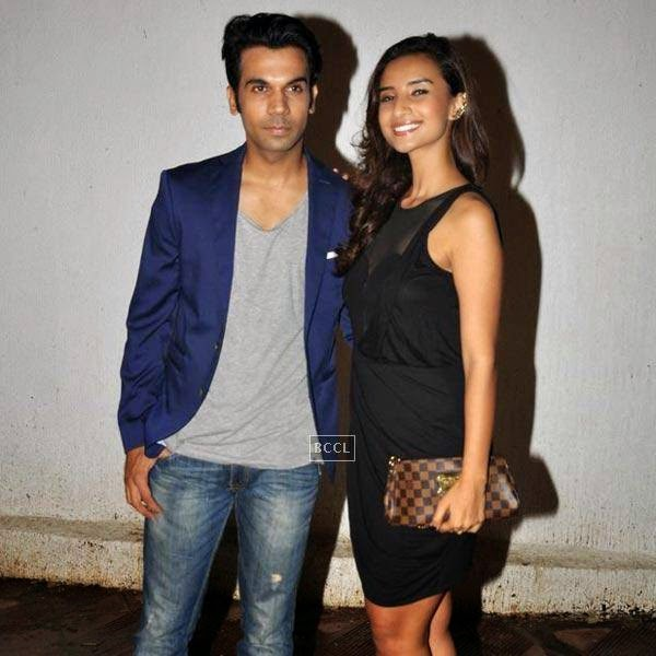 Rajkummar Rao and Patralekha pose together on their arrival for the wrap-party of Bollywood movie Mary Kom, held at Sanjay Leela Bhansali's residence on July 26, 2014.(Pic: Viral Bhayani)