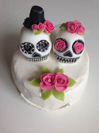 Sugarskulls på bröllopstårta