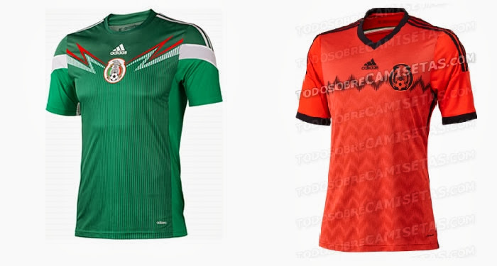 Mexico Kits 2014 World Cup Home & Away Shirts Official Release