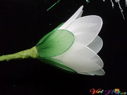 Làm hoa sen trắng bằng vải voan (bước 7)