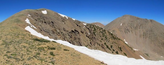 View from the ridge: point 12,163' (left) and Mt. Waas (right)
