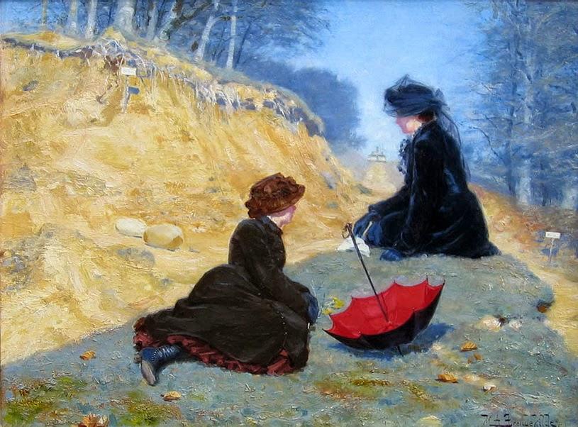 Hans Andersen Brendekilde - Two Girls Resting on a Path