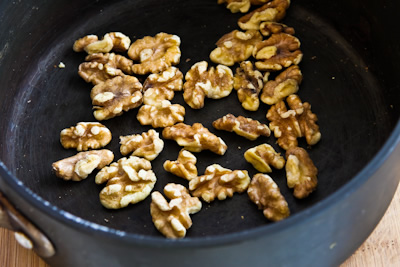 toasting walnuts for Made-from-Scratch Low-Sugar and Whole Wheat Bran Muffins with Apple and Walnuts found on KalynsKitchen.com