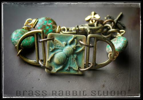 Green Dreams Bee Bracelet by Brass Rabbit Studio