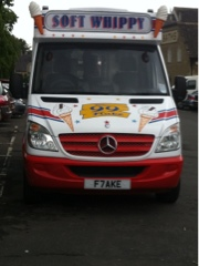 Mr Whippy Ice-Cream van with F7AKE (FLAKE) number plate