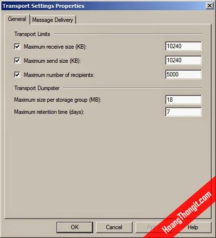 Cấu giới hạn kích thước mail cho toàn bộ user