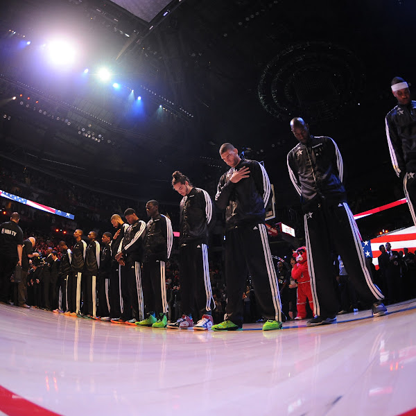 The Eastern Conference All-Stars stand during the national anthem during the 2013 NBA All-Star Game presented by Kia on February 17, 2013 at the Toyota Center in Houston, Texas.