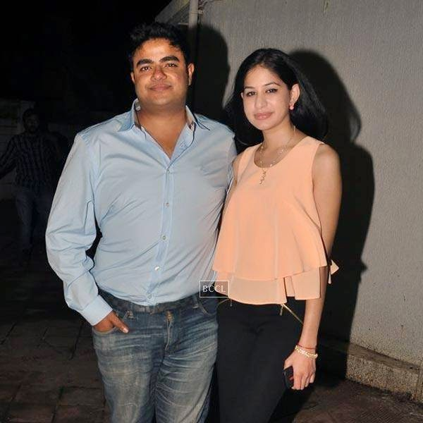 Siddharth Chopra poses with fiance Kanika Mathur during the wrap-party of Bollywood movie Mary Kom, held at Sanjay Leela Bhansali's residence on July 26, 2014.(Pic: Viral Bhayani)