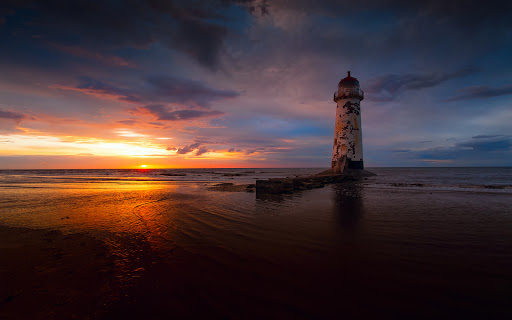 Lighthouse Sea and Sunset