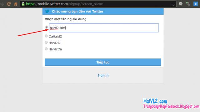 chọn tài khoản twitter