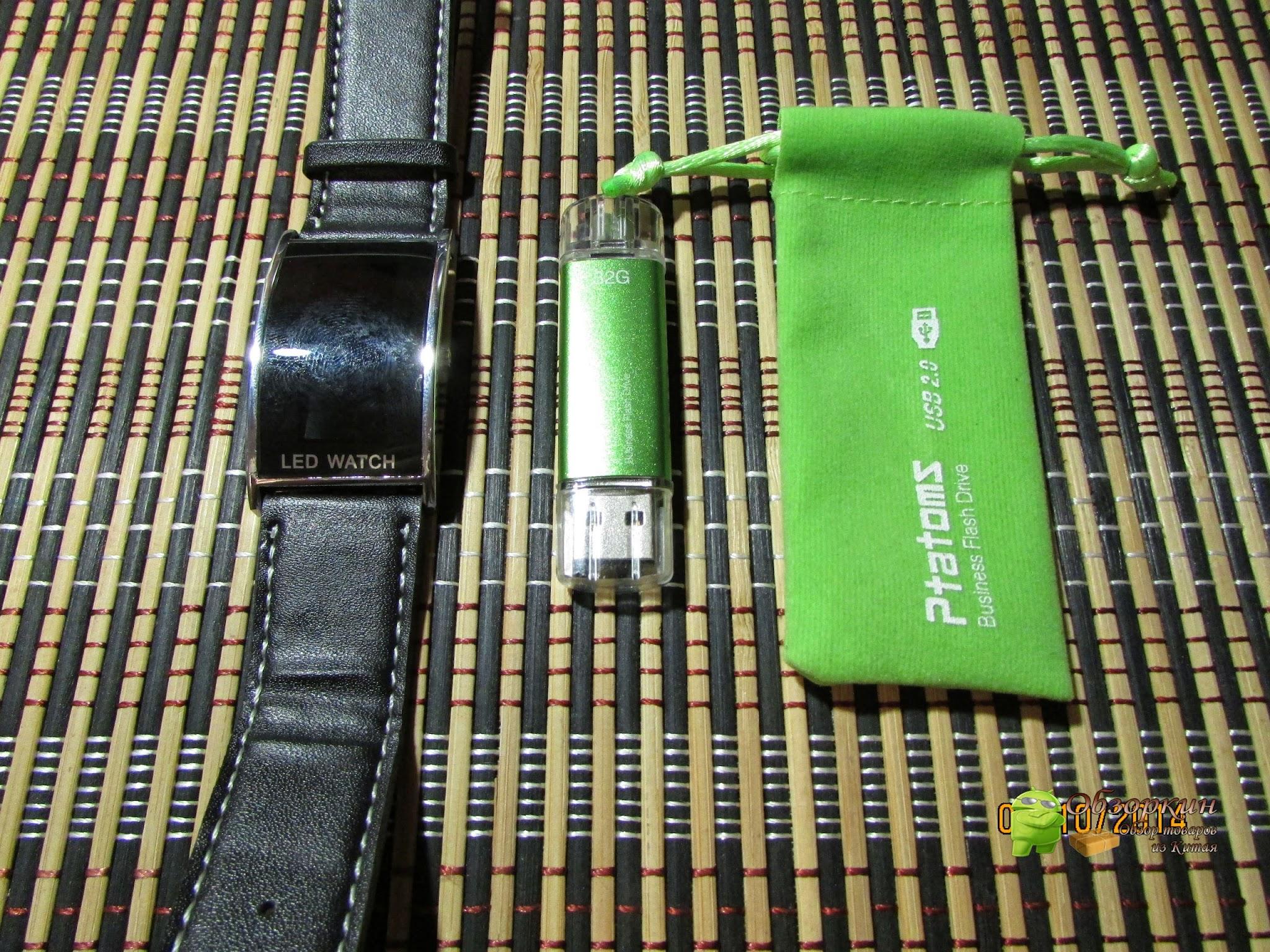 Флэшка Ptatoms с OTG, LED часы. Посылка из Китая. Aliexpress