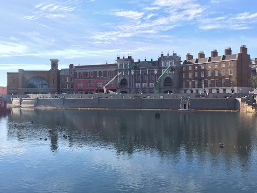 The Wizarding World of Harry Potter Diagon Alley London Waterfront facade as seen from Springfield USA.