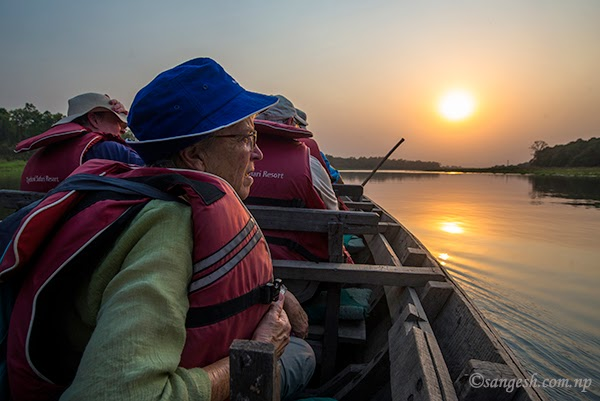 Elderly tourist enjoying the Chitwan National Park