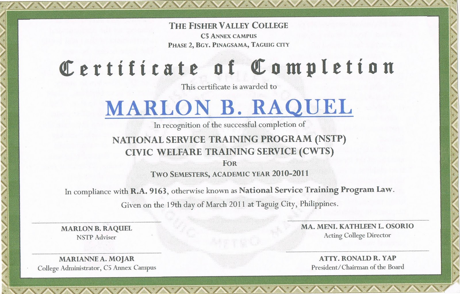 The Fisher Valley College Certificate of Completion in NSTP – Certificate of Completion Sample