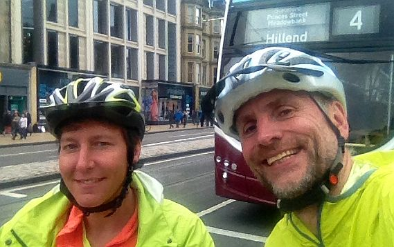 Miri & Chris on the Bike in Edinburgh