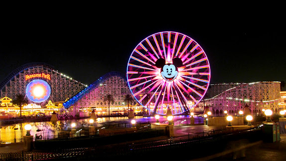 Paradise Pier at night