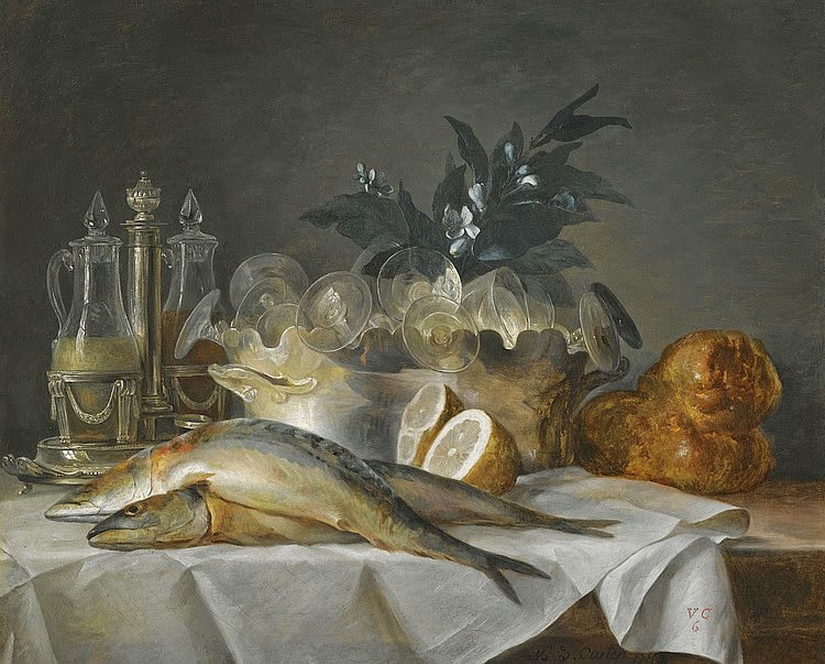 Anne Vallayer-Coster - A still life of mackerel, glassware, a loaf of bread and lemons on a table with a white cloth, 1787