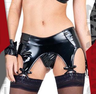 Kayla PU String & Suspender Belt Set
