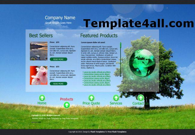 Free Ecology Blue Flash Website Template