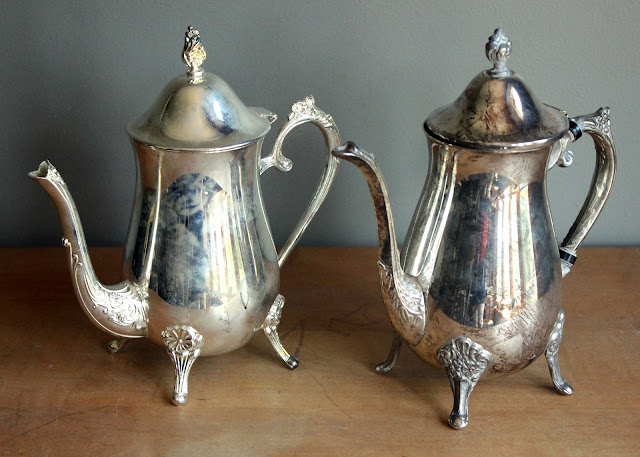 Footed silver teapots available for rent from www.momentarilyyours.com, $3.00 each.