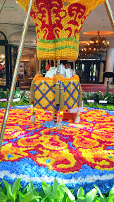 Gorgeous flowers inside the Conservatory Area, cultivated botanical gardens in the atrium of The Wynn make up this flowered hot air balloon